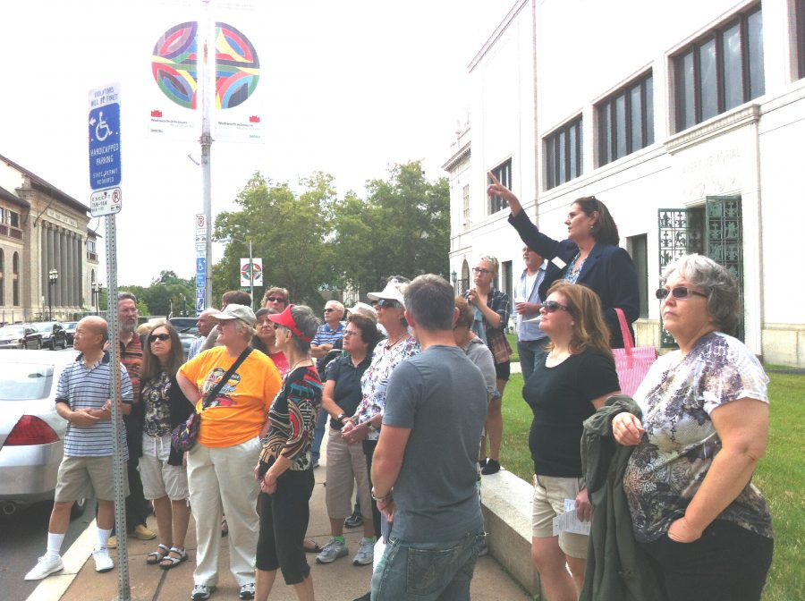 HPA's Mary Falvey (far right in blue jacket) leading an Envisionfest Walking Tour (2013)