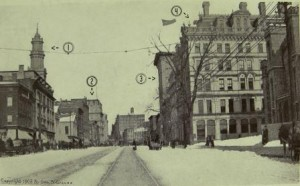Main Street 1908 (north from Wadsworth Atheneum) (image courtesty of Connecticut State Library RG 800)
